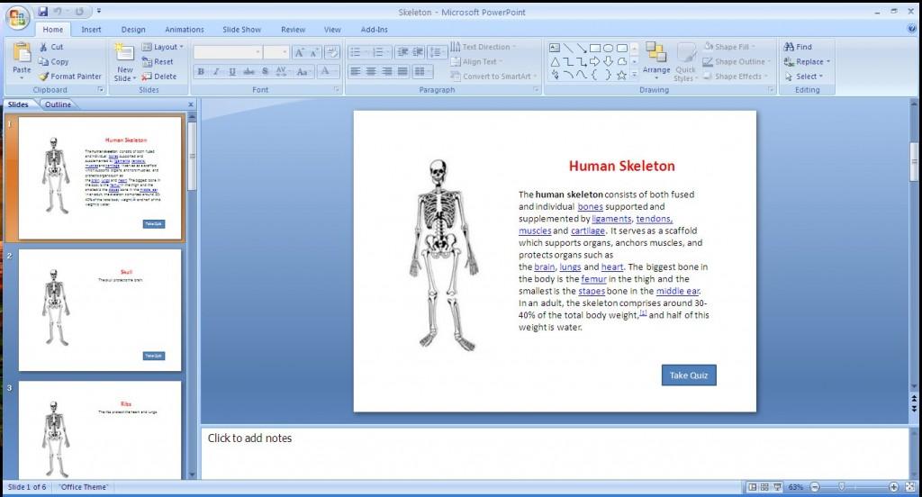 Skeleton PowerPoint slide